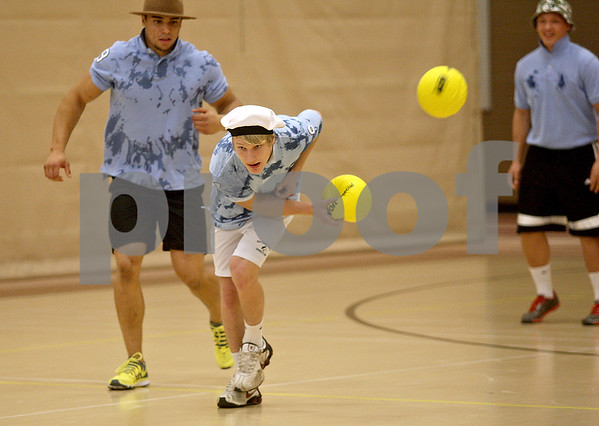 Monica Maschak - mmaschak@shawmedia.com<br /> Luke Ellis, with the Dstall Blue Ballers, redirects an oncoming ball wih the ball in his hand during a dodgeball tournament at DeKalb High School on Saturday, November 9, 2013. The Ben Gordon Center held the 8th annual tournament to raise money for veterans services.