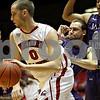 Monica Maschak - mmaschak@shawmedia.com<br /> Center Pete Rakocevic posts up in the first quarter against James Madison on Friday, November 15, 2013.