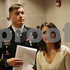 Rob Winner – rwinner@shawmedia.com<br /> <br /> Steven Estes of DeKalb and Annie Baccetti of Sandwich wait outside a courtroom before their wedding ceremony at the DeKalb County Courthouse in Sycamore, Ill., on Friday, Nov. 15, 2013. Estes is an Army Fire Support Specialist and will be deployed to Afghanistan in December.