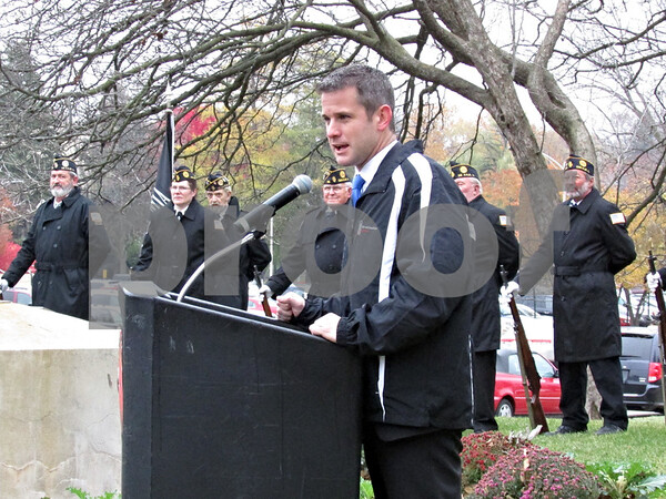 John Sahly – jsahly@shawmedia.com<br /> <br /> Rep. Adam Kinzinger speaks during a Veterans Day ceremony near Atgeld Hall on the Northern Illinois University campus in DeKalb, Ill., Monday, Nov. 11, 2013.