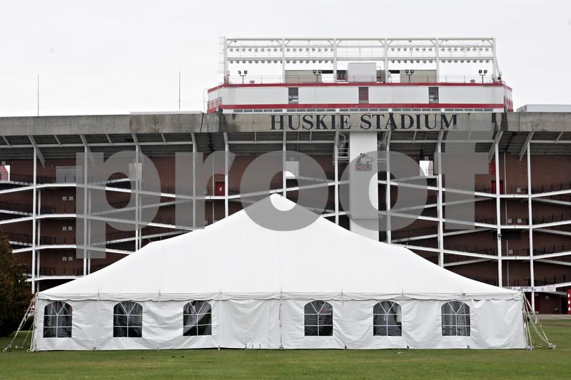 Rob Winner – rwinner@shawmedia.com<br /> <br /> The hospitality tent is seen on the west side of Huskie Stadium on Thursday, Nov. 21, 2013.
