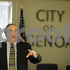 Rob Winner – rwinner@shawmedia.com<br /> <br /> Administrative consultant Joe Misurelli speaks during a state of the city address in Genoa, Ill., Thursday, Nov. 21, 2013.