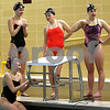 Monica Maschak - mmaschak@shawmedia.com<br /> From left: Kylie Olson, Bailey Flemming, Jensen Keck and Alexa Miller prepare to do a drill during a swim practice at Huntley Middle School on Tuesday, November 19, 2013. The four girls are moving on to state finals for the 200-yard medley relay.