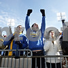 Rob Winner – rwinner@shawmedia.com<br /> <br /> (From left to right) Downs Tri-Valley fans including Trevor Goveia, Cody Eckel, Patrick Vock, Olivia Hedeman, and Kayla Christian celebrate a Vikings' touchdown in the first half at Huskie Stadium in DeKalb, Ill., Friday, Nov. 29, 2013.