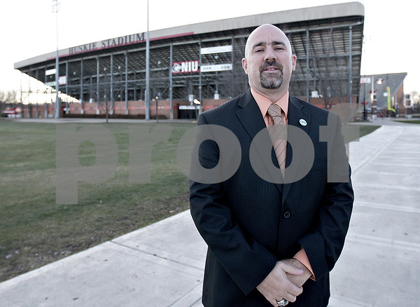 Monica Maschak - mmaschak@shawmedia.com<br /> (Former DeKalb High School Athletic Director?) Dan Jones stands in front of Huskie Stadium. Jones played a a key role in bringing the IHSA state football championships to town.