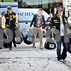 Monica Maschak - mmaschak@shawmedia.com<br /> Members from the Lena-Winslow football team unload from the bus at Huskie Stadium first thing in the morning nearly three hours before game-time on Friday, November 29, 2013.