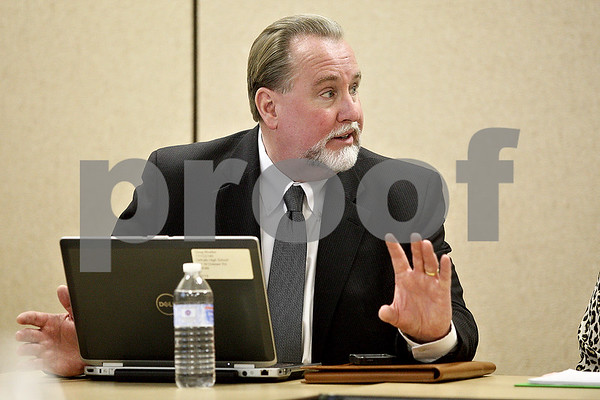 Monica Maschak - mmaschak@shawmedia.com<br /> Doug Moeller shares his thoughts during a meeting with District 428 principals and administrators on Wednesday, October 9, 2013. Moeller is the district's next superintendent.