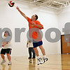 "Rob Winner – rwinner@shawmedia.com<br /> <br /> Kevin Koch, 36, leaps for a volleyball during practice at Opportunity House in Sycamore, Ill., Monday, Oct. 7, 2013. ""It's fun and I can talk to my friends and we can help each other out,"" said Koch when asked why he likes to play."