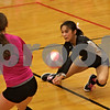 Rob Winner – rwinner@shawmedia.com<br /> <br /> Kaneland's Kathy Nguyen attempts to bump a ball during the second game against DeKalb on Tuesday, Oct. 15, 2013. DeKalb defeated Kaneland, 25-17 and 25-15.