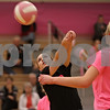 Rob Winner – rwinner@shawmedia.com<br /> <br /> DeKalb's Nicole Schladt bumps a ball during the first game against Kaneland on Tuesday, Oct. 15, 2013. DeKalb defeated Kaneland, 25-17 and 25-15.