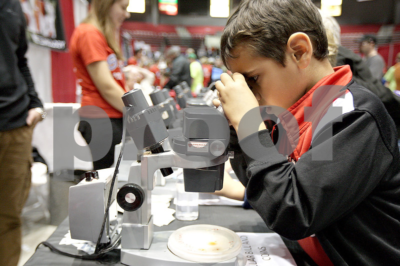 Monica Maschak - mmaschak@shawmedia.com<br /> Kevin Sullivan, 6, looks at bacteria from dollar bills and coins through a microscope at this year's Annual Celebration of Science, Technology, Engineering and Math (STEM) at  the Northern Illinois University Convocation Center on Saturday, October 19, 2013.