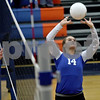 Monica Maschak - mmaschak@shawmedia.com<br /> Breea Rogalla sets the ball in the second set against Richmond-Burton on Tuesday, October 22, 2013. The Cogs lost the match.