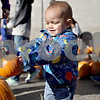 Monica Maschak - mmaschak@shawmedia.com<br /> Landon Horton, 1, reaches for a small pumpkin handed to him at the free pumpkin distribution at American Family Insurance in Sycamore on Saturday, October 19, 2013. Theis Farm II brought in six tons of pumpkins for the occasion.