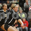 Rob Winner – rwinner@shawmedia.com<br /> <br /> Sycamore's Alyssa Maillefer bumps a ball in the second game against Sandwich during the Class 3A Sandwich Regional quarterfinal on Monday, October 28, 2013. Sycamore defeated Sandwich, 25-10 and 25-18.