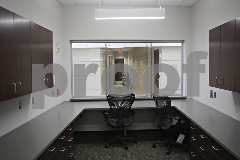 Rob Winner – rwinner@shawmedia.com<br /> <br /> A view from inside the reception office at the new DeKalb Police Station as seen on Wednesday, Oct. 30, 2013.