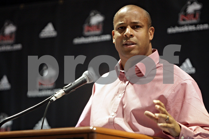 Rob Winner – rwinner@shawmedia.com<br /> <br /> Northern Illinois University men's basketball coach Mark Montgomery speaks during a press conference at the Convocation Center in DeKalb, Ill., Tuesday, Oct. 29, 2013.