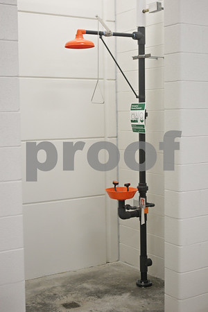 Rob Winner – rwinner@shawmedia.com<br /> <br /> A shower station is seen within the sally port at the new DeKalb Police Station as seen on Wednesday, Oct. 30, 2013.