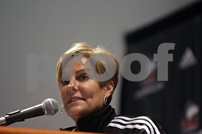 Rob Winner – rwinner@shawmedia.com<br /> <br /> Northern Illinois University women's basketball coach Kathi Bennett speaks during a press conference at the Convocation Center in DeKalb, Ill., Tuesday, Oct. 29, 2013.