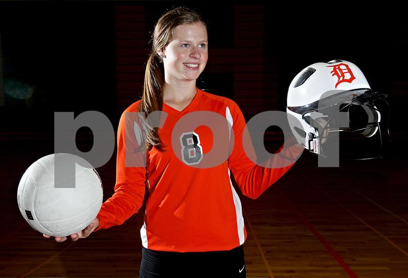 Monica Maschak - mmaschak@shawmedia.com<br /> Sophomore Morgan Newport sets for the DeKalb varsity volleyball team and pitches for the varsity softball team.