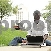 Rob Winner – rwinner@shawmedia.com<br /> <br /> Nursing student Michael Awopileda is seen studying outside Founders Memorial Library on the Northern Illinois University campus in DeKalb on Wednesday, Sept. 11, 2013.