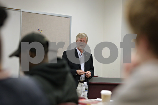 Rob Winner – rwinner@shawmedia.com<br /> <br /> Instructor John Desjarlais speaks to his students during a journalism class at Kishwaukee College in Malta on Monday, Sept. 16, 2013.