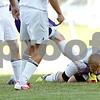 Rob Winner – rwinner@shawmedia.com<br /> <br /> Hiawatha goalkeeper jake Mlodzianowski (1) is kicked n the throat by Serena's Brendan Murphy after making a save in the first half at Kirkland, Ill., Monday, Sept. 23, 2013.