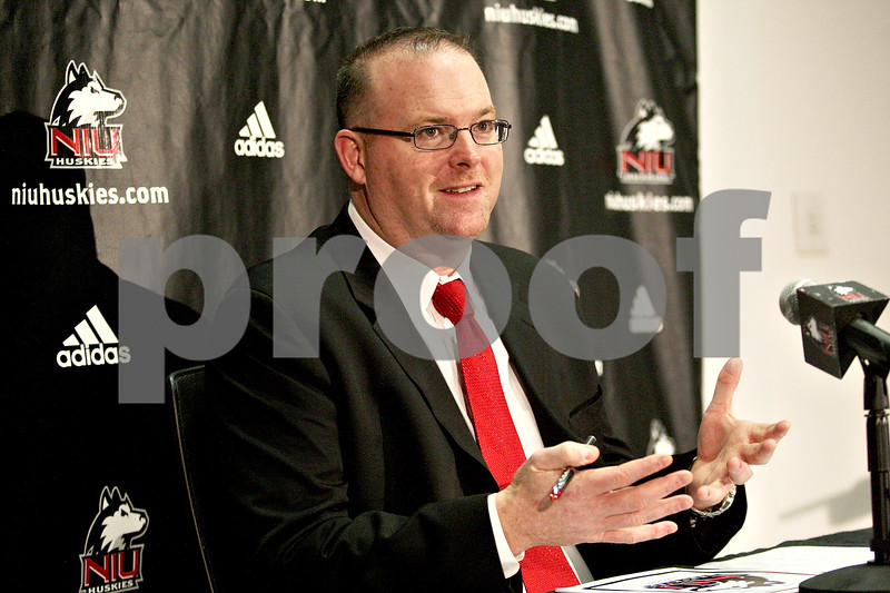 Monica Maschak - mmaschak@shawmedia.com<br /> Northern Illinois head coach Rod Carey talks to the media about the 2014 recruiting class in the Yordon Center on Wednesday, February 5, 2014.