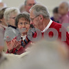 Monica Maschak - mmaschak@shawmedia.com<br /> Marcia and Bob Dempsey, of Waterman, applaud a speaker during a breakfast for couples married 50 years or longer at St. Mary's Memorial Hall in Sycamore on Thursday, February 13, 2014. The Dempseys have been married for 50 years.