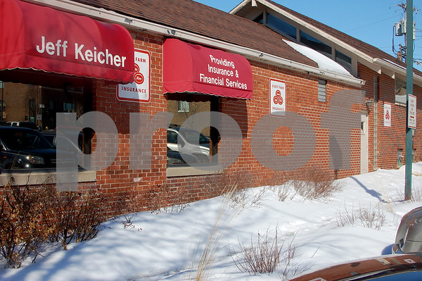 Debbie Behrends - dbehrends@shawmedia.comJeff Keicher is the recipient of a grant from the city for masonry work on his State Farm office at 315 W. Elm St. Keicher said the area of the discolored bricks and mortar on the east side of the building are the result of a repair after a car drove into the side of the building, that once housed a financial institution, in the 1970s.