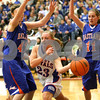 Monica Maschak - mmaschak@shawmedia.com<br /> Hinckley-Big Rock's Andrea Binkley passes the ball in the third quarter of the Class 1A DeKalb Super-Sectional against Eastland on Monday, February 24, 2014. The Royals lost, 33-36.