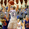 Monica Maschak - mmaschak@shawmedia.com<br /> Hinckley-Big Rock's Lauren Paver shoots the ball in the third quarter of the Class 1A DeKalb Super-Sectional against Eastland on Monday, February 24, 2014. The Royals lost, 33-36.