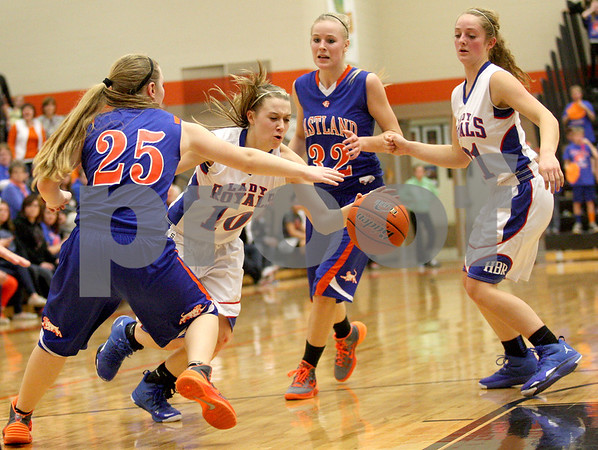 Monica Maschak - mmaschak@shawmedia.com<br /> Hinckley-Big Rock's Jacqueline Madden sprints to the paint in the fourth quarter of the Class 1A DeKalb Super-Sectional against Eastland on Monday, February 24, 2014. The Royals lost, 33-36.