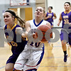 Monica Maschak - mmaschak@shawmedia.com<br /> Hinckley-Big Rock's Jacqueline Madden loses the ball to a defender in the first quarter against Serena on Thursday, January 9, 2014. The Royals lost to the Huskers, 52-41.