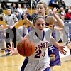 Monica Maschak - mmaschak@shawmedia.com<br /> Hinckley-Big Rock's Anne Klein reaches to keep the ball in bounds in the second quarter against Serena on Thursday, January 9, 2014. The Royals lost to the Huskers, 52-41.