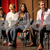 Monica Maschak - mmaschak@shawmedia.com<br /> From left: Sean Connors, Matt Petersen, Cristina Baca and Band Director Steve Ludin learn the stomping percussion method used by the French-Canadian folk group Le Vent du Nord at DeKalb High School on Tuesday, January 14, 2014. A public concert will be held at the high school this Saturday at 7 p.m.