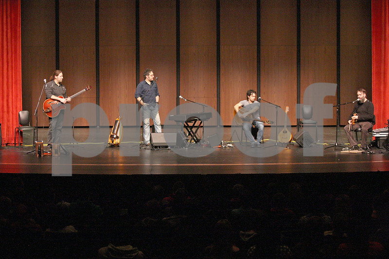 Monica Maschak - mmaschak@shawmedia.com<br /> French-Canadian folk group Le Vent du Nord talks to students at DeKalb High School on Tuesday, January 14, 2014. A public concert will be held at the high school this Saturday at 7 p.m.