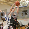 Rob Winner – rwinner@shawmedia.com<br /> <br /> Newark's Jasmine Mitchell (20) blocks a shot by Indian Creek's Olivia Harvell in the second quarter at the Little Ten tournament in Hinckley, Ill., Thursday, January 23, 2014. Newark defeated Indian Creek, 37-23.