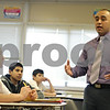 Rob Winner – rwinner@shawmedia.com<br /> <br /> Teacher Billy Hueramo speaks to his room of eighth-graders before the end of class at Huntley Middle School in DeKalb, Ill., Tuesday, Jan. 21, 2014. District 428 is trying to hire more minority, bilingual and male teachers.<br /> <br /> ***The second sentence is from information I received from the photo request. Please check with Katie's story to confirm this angle.***