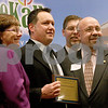 Monica Maschak - mmaschak@shawmedia.com<br /> Owner of Fatty's Pub and Grille Jeff Dobie (center) poses with Mayor John Rey and last year's recipients after winning the 2013 Business of the Year award during the annual DeKalb Chamber of Commerce dinner held at Faranda's Banquet & Conference Center on Thursday, January 23, 2014.