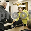 Rob Winner – rwinner@shawmedia.com<br /> <br /> Newly-hired DeKalb City Manager Anne Marie Gaura shakes hands with firefighter/paramedic Jason Pavlak during a visit to Fire Station No. 1 on Wednesday, Jan. 22, 2014. Gaura has been meeting with city employees during her first couple of days and plans on meeting with community members in her second week.