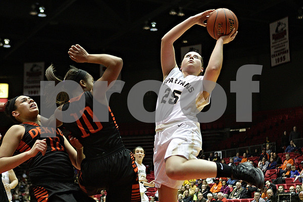 Rob Winner – rwinner@shawmedia.com<br /> <br /> Sycamore's Bailey Gilbert (25) puts up two points while drawing a foul during the first quarter at the Convocation Center in DeKalb, Ill., Friday, Jan. 31, 2014. DeKalb defeated Sycamore, 46-42.