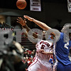 Monica Maschak - mmaschak@shawmedia.com<br /> Northern Illinois' Travon Baker misses a shot in the second half against University at Buffalo at the Convocation Center on Saturday, January 25, 2014. The Huskies lost to the Bulls, 75-67.