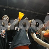 Rob Winner – rwinner@shawmedia.com<br /> <br /> DeKalb fans including Owen Sawyer (from left to right), Demetrios Collins, Jared Johnson, Josh Snead and Dylan Hottsmith cheer on the girls basketball team while facing Sycamore at the Convocation Center in DeKalb, Ill., Friday, Jan. 31, 2014. DeKalb defeated Sycamore, 46-42.