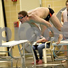 Monica Maschak - mmaschak@shawmedia.com<br /> Dylan Powers starts off the 400 yard freestyle relay event against Elgin on Thursday, January 30, 2014. DeKalb won the meet, 136-31.