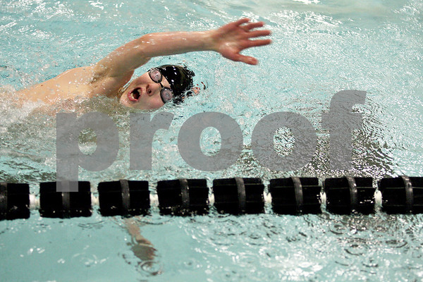 Monica Maschak - mmaschak@shawmedia.com<br /> Dylan Rasmussen switches to back stroke in the 200 yard individual medley event against Elgin on Thursday, January 30, 2014. DeKalb won the meet, 136-31.