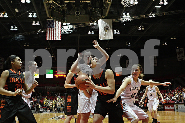 Rob Winner – rwinner@shawmedia.com<br /> <br /> DeKalb's Alexis Hammond looks to shoot during the fourth quarter at the Convocation Center in DeKalb, Ill., Friday, Jan. 31, 2014. DeKalb defeated Sycamore, 46-42.