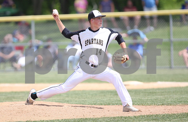 Monica Maschak - mmaschak@shawmedia.com<br /> Sycamore's Colan Treml throws a pitch in the eighth inning of the Hampshire regional final game against Burlington Central on Saturday, May 31, 2014. Sycamore won, 6-5, in 10 innings.