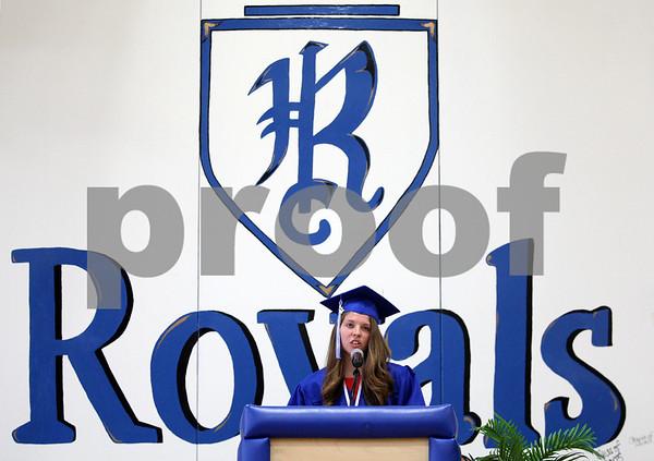 Monica Maschak - mmaschak@shawmedia.com<br /> Valedictorian Caitlin Flanigan addresses her class during the Hinckley-Big Rock graduation ceremony on Sunday, June 1, 2014.
