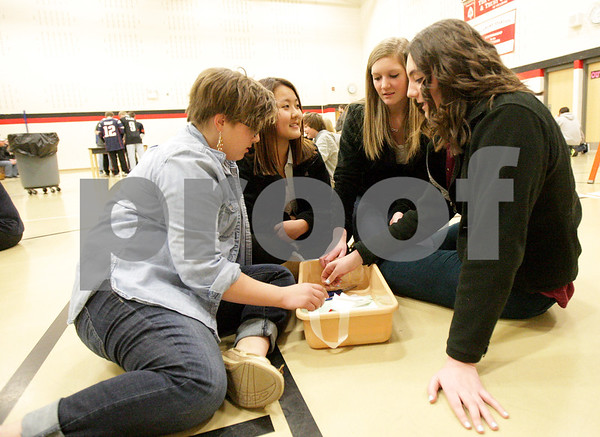 Monica Maschak - mmaschak@shawmedia.com<br /> Eighth graders Kayla Born (left), Rina Ishimaru, Natalee Alltop and Sarah Horton plan a way to drop their egg from a ladder without it breaking during the Science Olympiad at Sycamore Middle School on Thursday, March 13, 2014.
