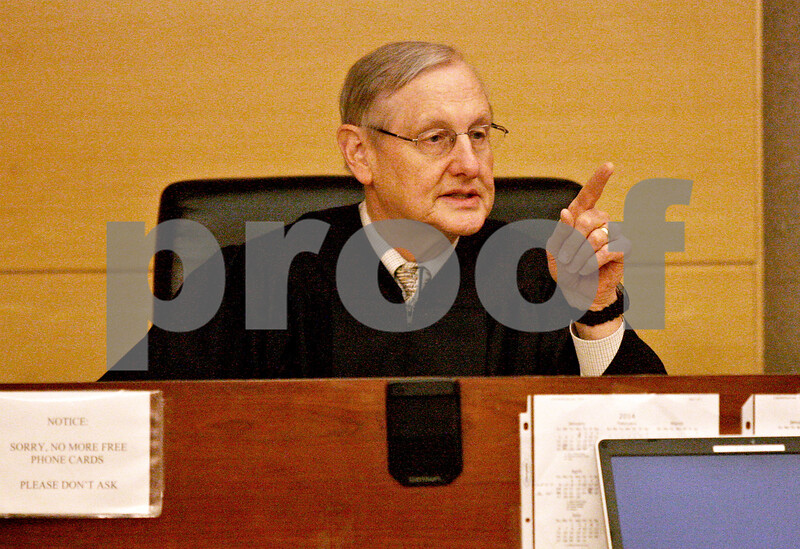 Monica Maschak - mmaschak@shawmedia.com<br /> Judge James Hallock speaks during a sentencing hearing for Benjamin Black at the Kane County Courthouse on Thursday, March 20, 2014. The judge delayed the sentencing to March 26.